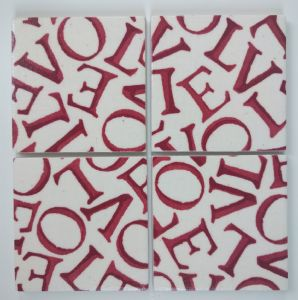 4 Ceramic Coasters in Emma Bridgewater Red Love